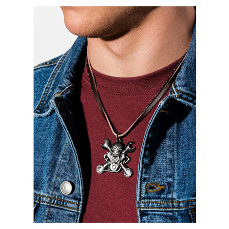 Ombre Clothing Men's necklace on the leather strap A360