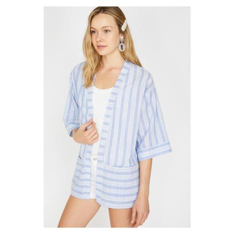 Koton Damskie Niebieskie Pasiaste Kimono