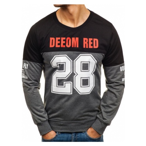 Bluza męska bez kaptura z nadrukiem grafitowa Denley 80266 RED FIREBALL