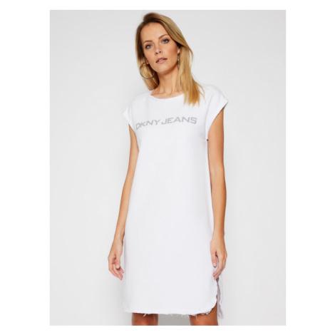 DKNY Sukienka dzianinowa E0RD1EBA Biały Regular Fit