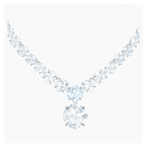 Mix Necklace, White, Rhodium plated Swarovski