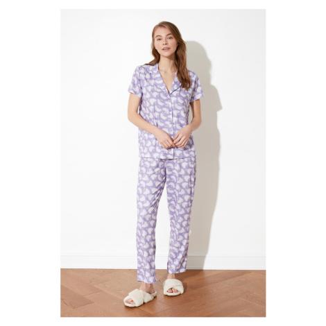 Trendyol Lilac Patterned Knitted Pyjama Set
