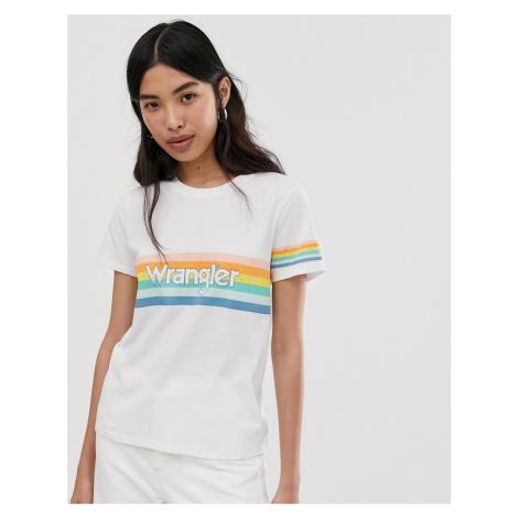 Wrangler rainbow stripe detail t shirt