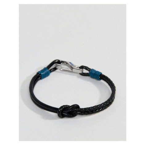 Ted Baker ivvry knotted leather bracelet in black & blue