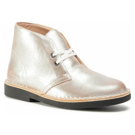 Botki CLARKS - Desert Boot 2 261556684 Silver Leather