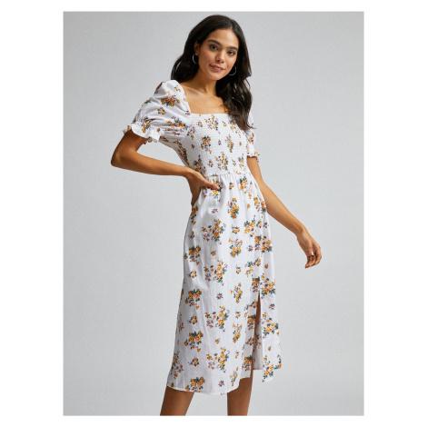 Biała sukienka w kwiaty z mieszanką lnu Dorothy Perkins