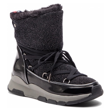Botki TOMMY HILFIGER - Cool Glitter Winter Boot FW0FW03696 Black 990