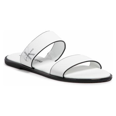Klapki CALVIN KLEIN JEANS - Flat Sandal Twostraps Lth YW0YW00026 Bright White YAF