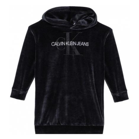 Calvin Klein Jeans Sukienka codzienna Velour Monogram Hoodie IG0IG00711 Czarny Regular Fit