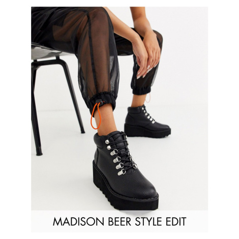 ASOS DESIGN Astroid chunky wedge lace up boots