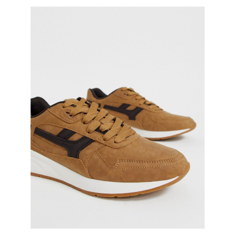 Pull&Bear chunky trainers in camel Pull & Bear