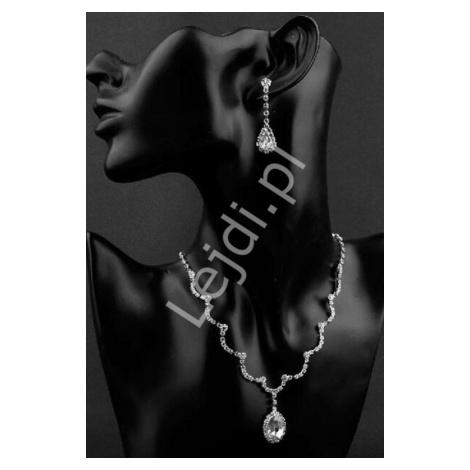 Zestaw biżuterii ślubnej, wieczorowej z cyrkoniami i dużymi kryształkami, naszyjnik i kolczyki