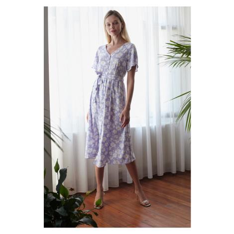 Trendyol Lila Belted Shirt Dress
