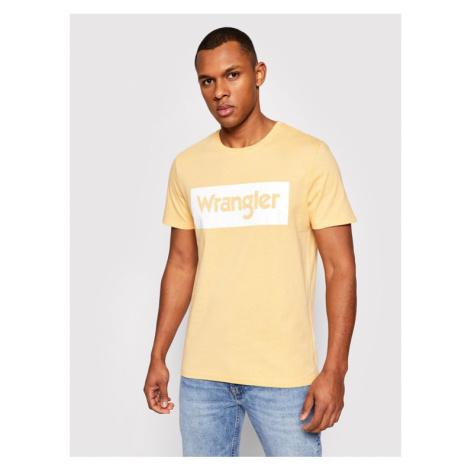 Wrangler T-Shirt Ss Logo Tee W742FKA11 Żółty Regular Fit