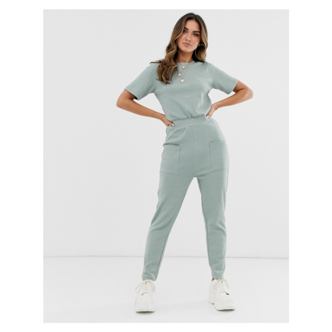 Missguided ribbed jumpsuit with pocket detail in sage