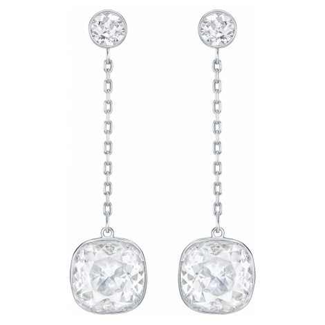 Lattitude Chain Pierced Earrings, White, Rhodium plated Swarovski