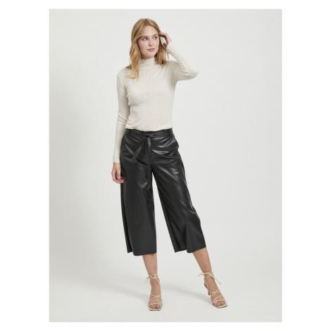 Czarne spodnie ze sztucznej skóry VILA Vivi