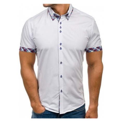 Koszula męska z krótkim rękawem biała Bolf 6540