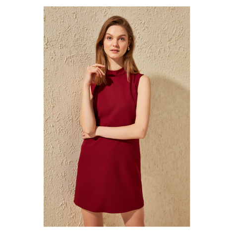 Trendyol Burgundy Upright Collar Basic Dress