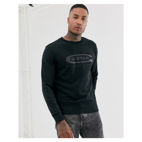 G-Star Graphic 4 organic cotton chest logo crew neck sweat in black G-Star Raw