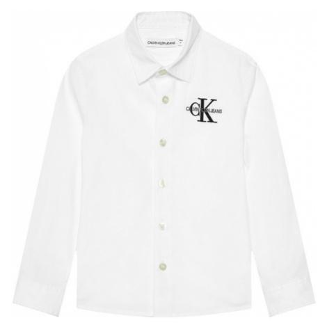 Calvin Klein Jeans Koszula Hybrid Chest Logo IB0IB00830 Biały Regular Fit