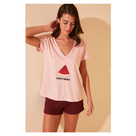 Trendyol Rose Dry Watermelon Embroidered T-Shirt