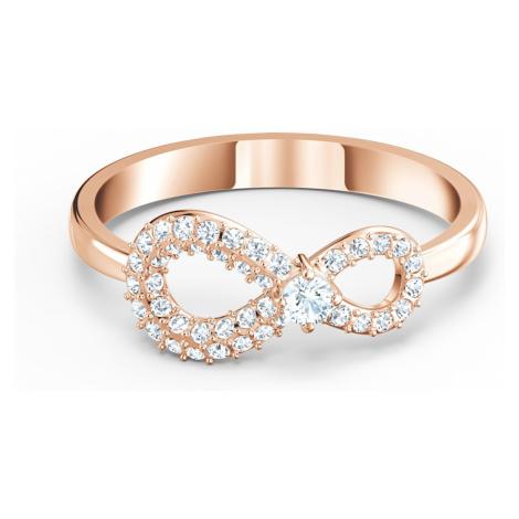 Pierścionek Swarovski Infinity, biały, w odcieniu różowego złota