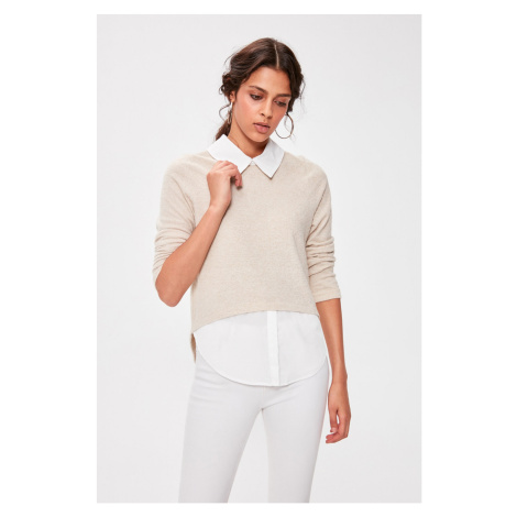 Trendyol Camel Shirt Collar Knitted Blouse