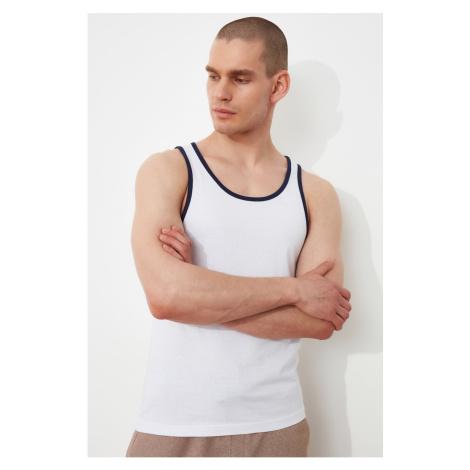 Trendyol Biały Męskie Regularne Dopasowanie Załoga Szyja Kontrast Piping Zero Sleeved Podkoszule