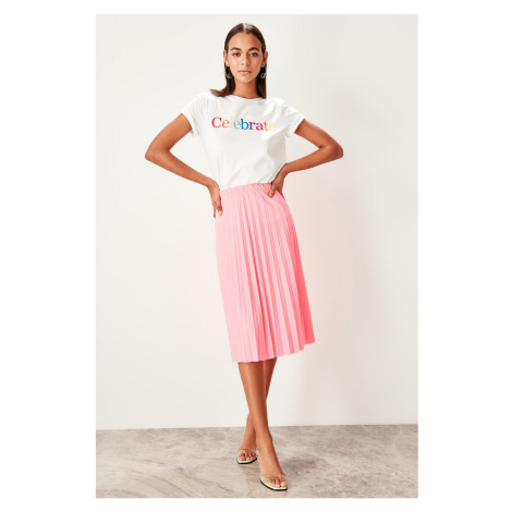 Trendyol Pink Pleated knitted Skirt