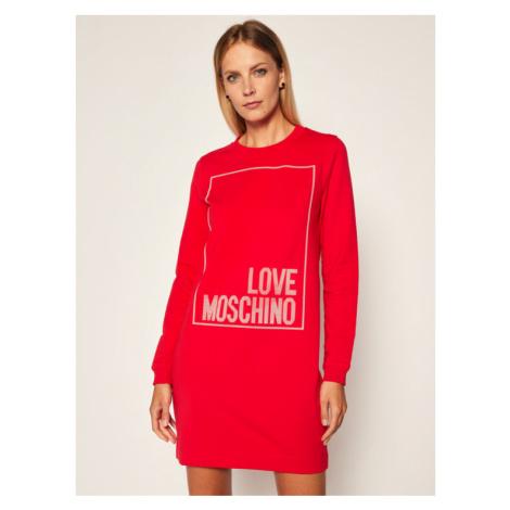 LOVE MOSCHINO Sukienka dzianinowa W584715E 2182 Czerwony Regular Fit