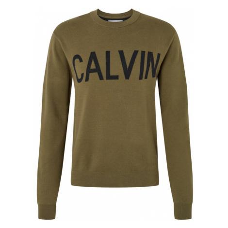 Calvin Klein Jeans Bluzka sportowa 'CALVIN' khaki / czarny