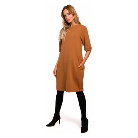 Made Of Emotion Woman's Dress M451 Caramel