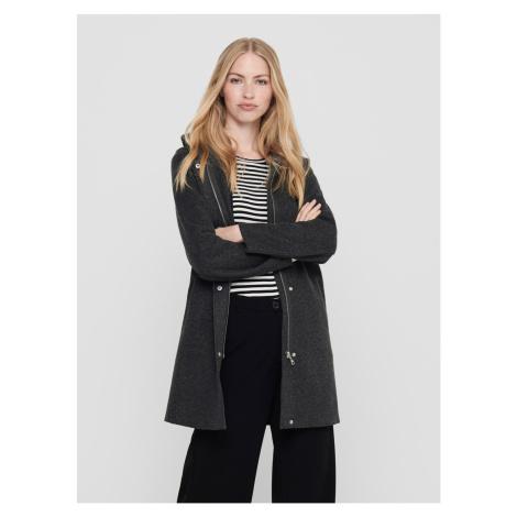 TYLKO ciemnoszary płaszcz z kapturem Only