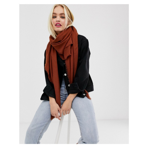 ASOS DESIGN lightweight recycled polyester scarf in tobacco