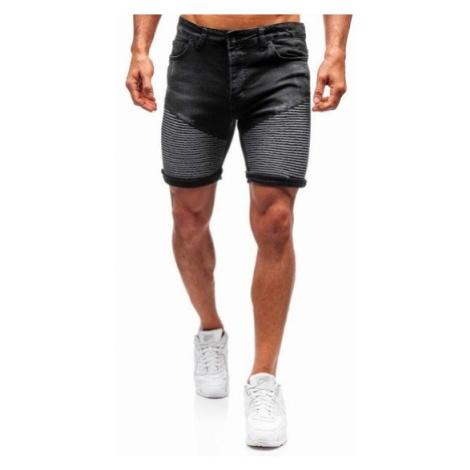 Krótkie spodenki jeansowe męskie czarne Denley 1058
