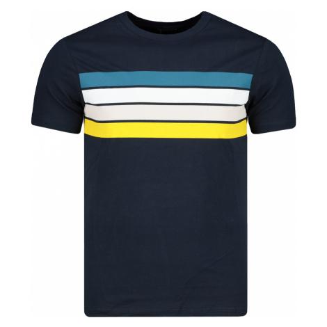Modsyol Navy Męski t-shirt slim fit z nadrukiem Slim Fit Trendyol