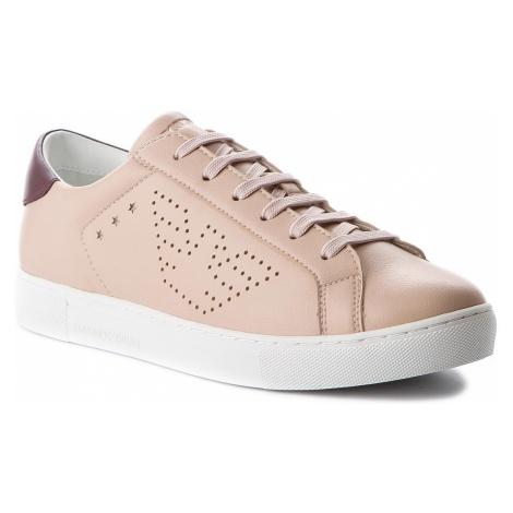 Sneakersy EMPORIO ARMANI - X3X042 XL210 A650 Nude/Bordo