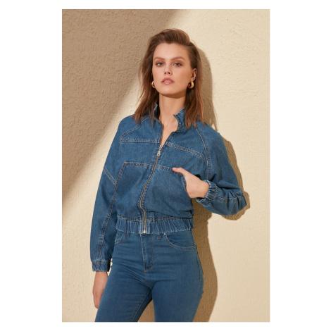 Trendyol Blue Waist Tire Crop Denim Jacket