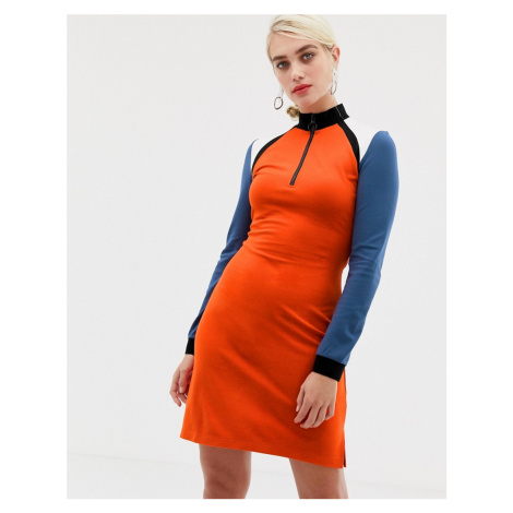 2NDDAY colourblock jersey dress with zip