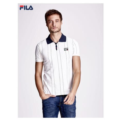 FILA Ecru męska koszulka polo z kolorowymi paskami