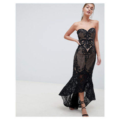 Bariano Sweetheart Fishtail Maxi Dress In Lace