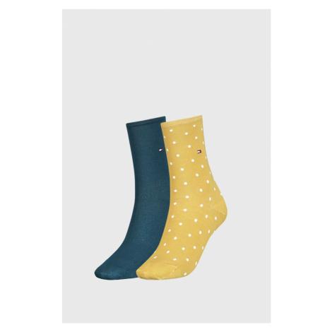 2 PACK żółtych damskich skarpetek Tommy Hilfiger Dot