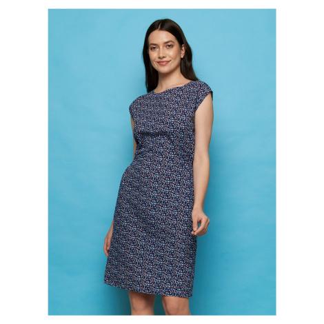 Tranquillo niebieski sukienka Tea ze wzorami