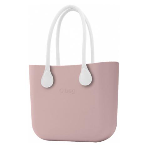 O bag torebka Smoke Pink z długimi białymi uchwytami ze skajki