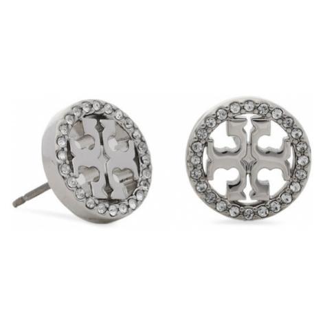 Tory Burch Kolczyki Miller Pave Stud Earring Box 80318 Srebrny