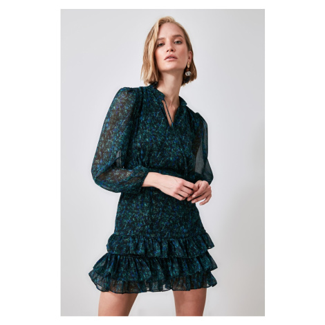 Trendyol Green Patterned Flywheel Dress