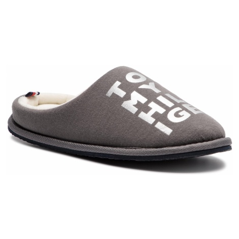 Kapcie TOMMY HILFIGER - Metallic Print Home Slipper FW0FW04181 Dark Grey 023