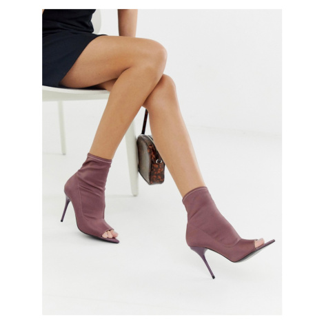 ASOS DESIGN Esther stiletto open toe sock boots in purple