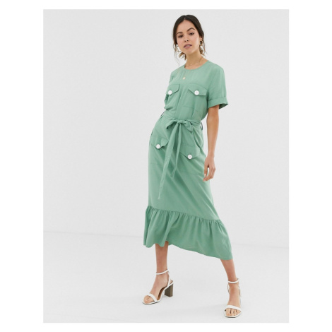 ASOS DESIGN pep hem midi dress with pockets